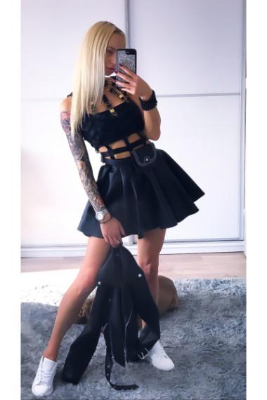 Seksowna sukienka krotka z czarnej skory Excellent nr 6