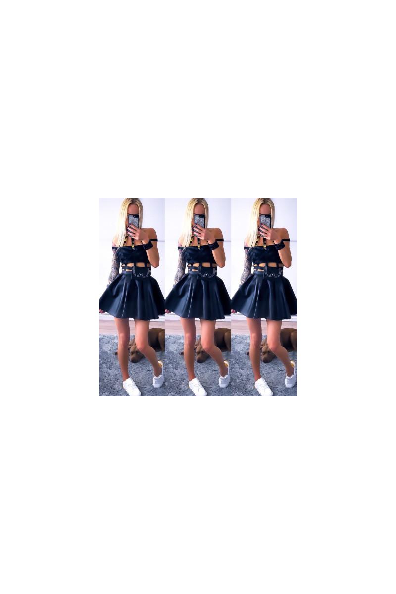 Seksowna skorzana sukienka czarna Excellent nr 9