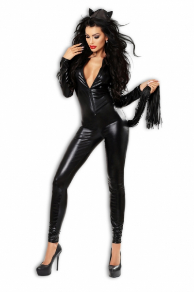EROTIC AND SEXY COSTUME OF KITTEN WITH LONG TAIL AND EARS MADE OF LATEX - CATCHY