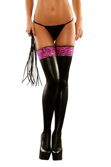 Lateksowe czarne pończochy z różowym dodatkiem Zebra Stockings