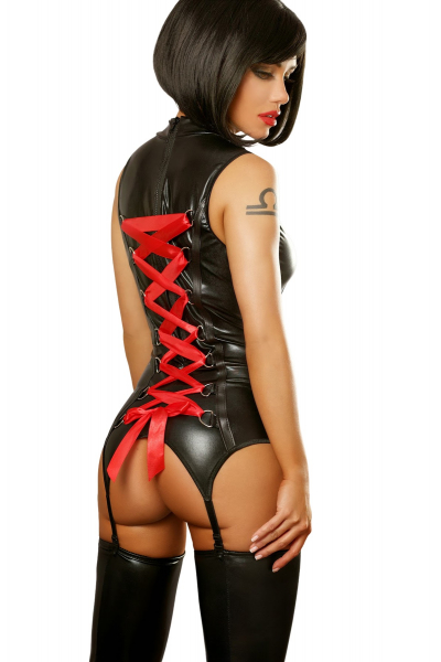 MANSION OF LOVE - SEXY WOMEN'S BODYSUIT WITH RED RIBBON AND GARTER STRAPS