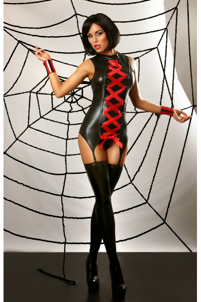 MANSION OF LOVE - SEXY WOMEN' S LINGERIE MADE OF LATEX LACED WITH RED RIBBON