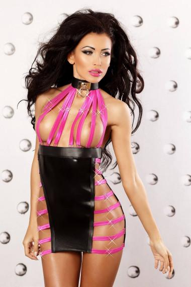 Erotyczna sukienka krótka, czarna z obrożą Lolitta