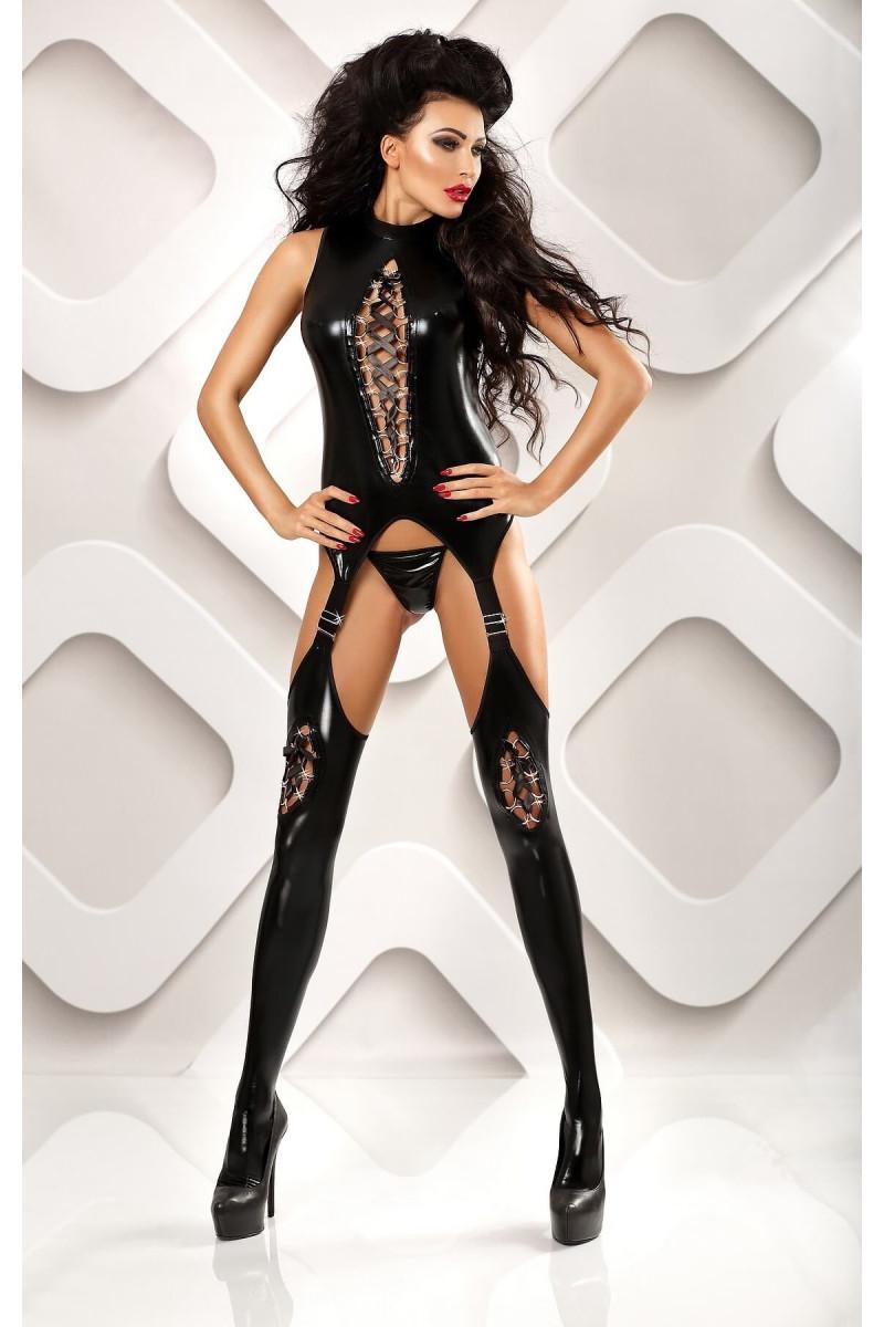 Bodystocking seksowne czarne damskie  - Lolitta