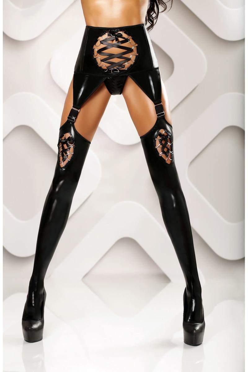 Bielizna erotyczna damska czarna z pończochami i paskami.Lolitta.