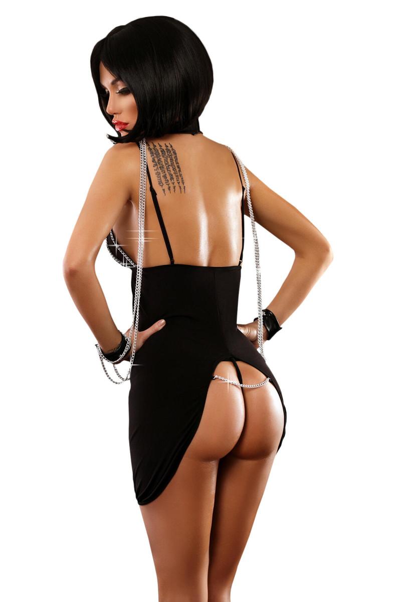 Erotyczna sukienka krótka czarna z obróżką - Lolitta