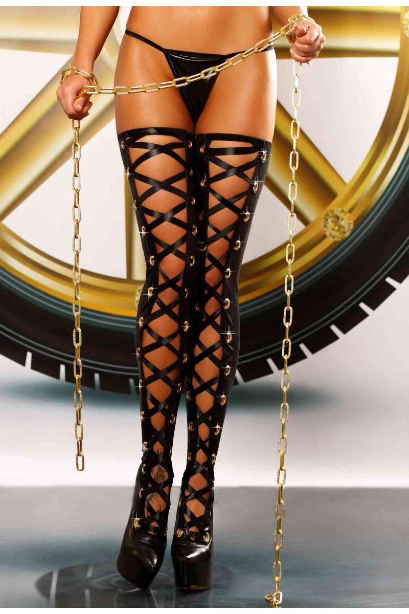 Seksowne pończochy damskie czarne z lateksu  - Biazrre