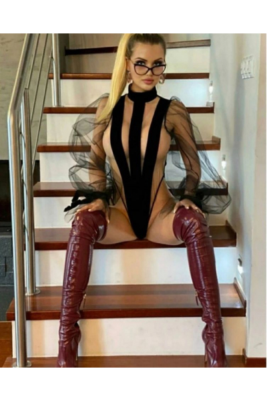 Luxury bodysuit with long sleeves