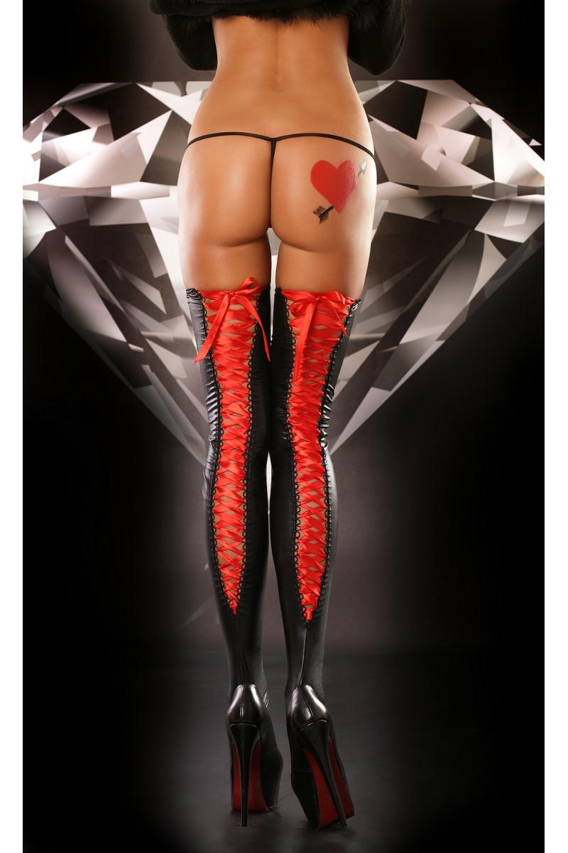 Pończochy czarne z lateksu wiązane czerwoną tasiemką